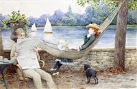 vichy, la sieste dans le parc au bord de l'allier by maurice poirson