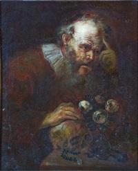 filosofo in meditazione (vanitas) by pietro bellotti