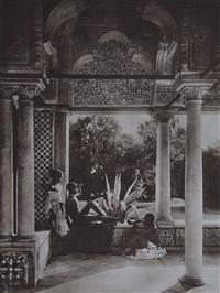 trois jeunes garçons dans un palais; femmes voilée dans une rue. tunis (2 works) by lehnert & landrock