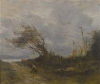 un coup de vent au bord de la mer by jean-baptiste-camille corot