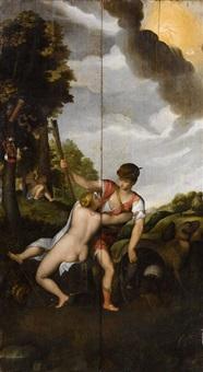 vénus et adonis (recto), allégories du temps et de la mélancolie (verso) (2 panels) by alessandro varotari
