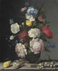 roses, anemone, iris, hyacinth, lily of the valley, and forget-me-nots, with insects, shells and a lizard on a stone ledge by balthasar van der ast
