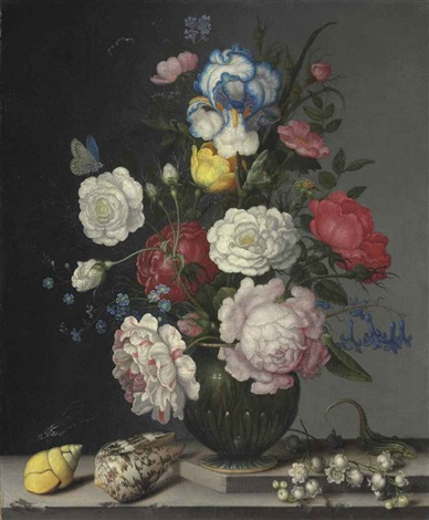 roses anemone iris hyacinth lily of the valley and forget me nots with insects shells and a lizard on a stone ledge by balthasar van der ast