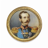 alexander ii (1818-1881), tsar of russia, in dark green uniform with gold-embroidered red collar, gold epaulettes by alois gustav rockstuhl