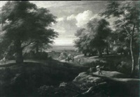 extensive landscape with figures on horseback and cattle by a cottage by f. renen
