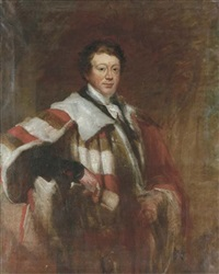 portrait of daniel o'connell, irish nationalist leader, lord mayor of dublin, three-quarter-length, in mayoral robes, holding a scroll in his right hand by stephen catterson smith