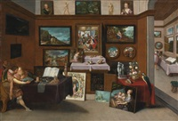 the interior of a picture gallery with connoisseurs admiring paintings by frans francken the younger