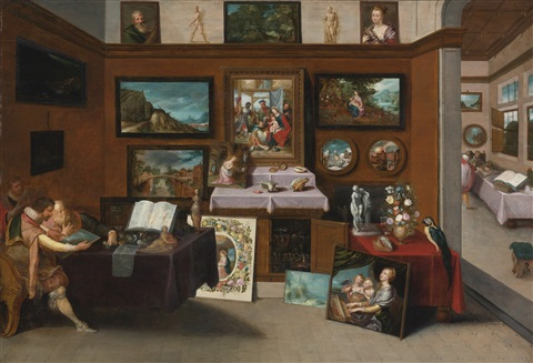 The interior of a picture gallery with connoisseurs admiring ...