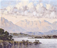 lake and mountain scene by mabel young