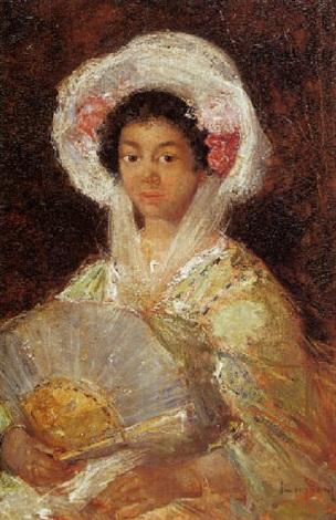 portret van een spaanse schone met waaier in de hand en mantilla by simon maris