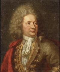 portrait d'homme au manteau rouge by jacques andré joseph aved