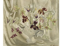 orchids in a white vase by anna katrina zinkeisen