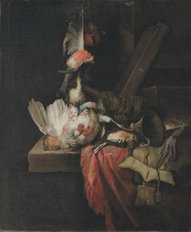 still life of a dead partridge and other birds and implements of the chase on a draped stone ledge by william gowe ferguson