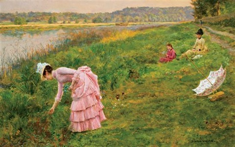 picking wildflowers by marie françois firmin girard