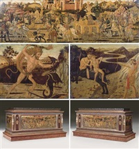 the triumph of david (+ 2 others, smaller; 3 works on a cassone) by giovanni di ser giovanni di (lo scheggia) simone