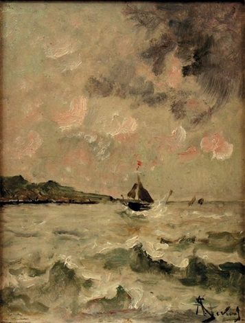 voilier en pleine mer by alfred stevens