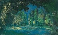rivière dans un sous-bois by alexei konstantinovich korovin