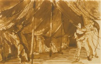 soldiers erecting a tent by keith vaughan