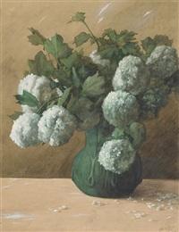 white flowers in a green vase by albert r. valentien
