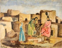 women by village well by arieh allweil