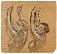 deux danseuses (vues en buste, les bras lèves) by edgar degas