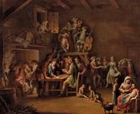 im wirtshaus mit kartenspielern, tänzern und musikanten by giovanni battista innocenzo colombo