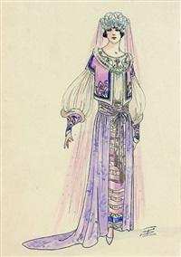 projet de costume (femme au diadème argenté by igor sokoloff