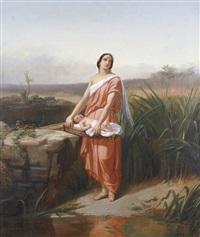moïse enfant et sa soeur myriam au bord du nil by charles augustin wauters