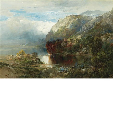 mountain landscape with lake by william louis sonntag