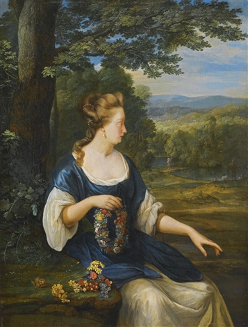 portrait of a young woman three quarter length seated in a landscape holding a floral wreath by eglon hendrik van der neer