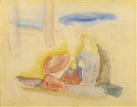 resting on the beach by charles demuth