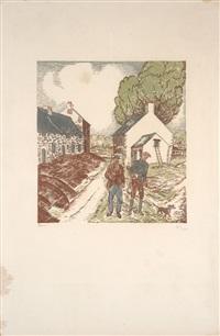 départ pour la chasse (+ preparatory drawing, 2 works) by jean-emile laboureur