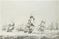 "a fleet of dutch ships escorted by men-o'war, one being the frigate '""wapen van schiedam"" by adriaen van salm"
