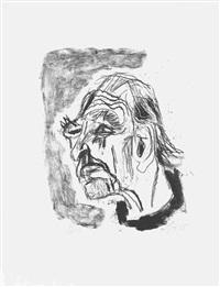selbstportrait (nach links, mit schwarzem kragen) by otto dix