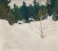 reh im winterwald by max kahrer