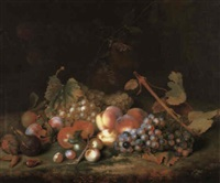 still life of grapes, peaches, figs, plums and cobnuts on a mossy bank by william smith