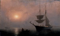 ship in fog, gloucester harbor by fitz henry lane