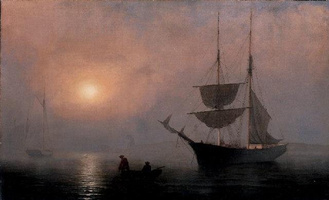 ship in fog gloucester harbor by fitz henry lane