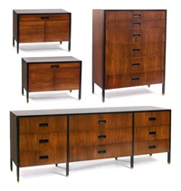 rosewood bedroom suite (4 works) by harvey probber