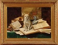 chien au milieu des livres by arthur delgoffe