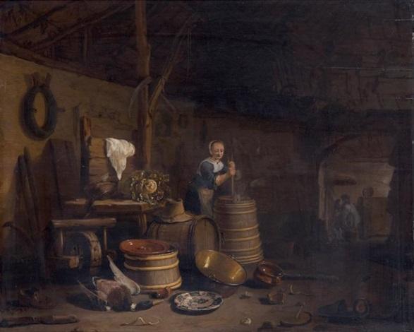 Le barattage du beurre dans un intérieur de cuisine by Egbert ...