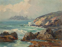rocky cove with crashing waves by jack wilkinson smith