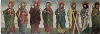 christ and seven apostles; a fragment of a retable by french school (15)