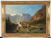 wasserfall in alpinem hochgebirge mit staffage by leopold heinrich vöscher