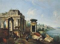capriccio con portico in rovina, monumento equestre e paesaggio lacustre: capriccio mit ruinen in einer flusslandschaft by francesco albotti