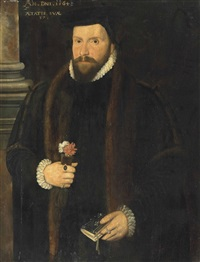 portrait of a gentleman, half-length, in a fur-trimmed coat with a ruff and cuffs, a book in his left hand and carnations in his right hand, by a column by british school (16)
