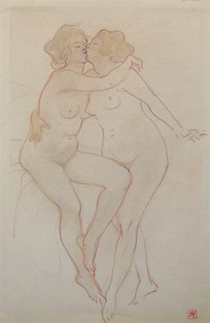 les amies de paul verlaine et esquisse de femme nue debout et quatre croquis de visages féminins studyrecto verso by armand rassenfosse