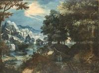 ville sur un éperon rocheux devant une rivière en bordure de forêt by marten van valkenborch the elder