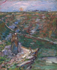 breton woman on a cliff top, belle-ile by john peter russell