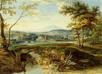 pêcheurs dans un paysage à l'antique by victor pillement